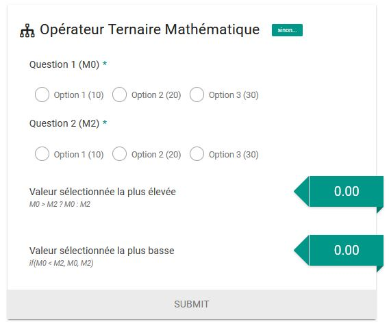 Condition ternaire mathématique (si ... sinon)